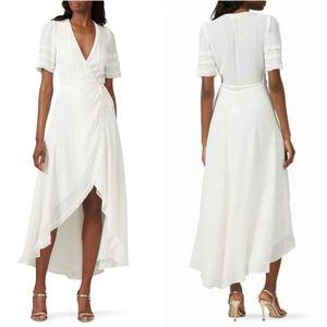🎉Reformation Ivory White Lottie Ruffle Wrap Dress